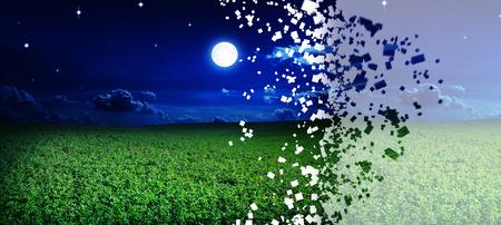 disintegrate: disintegrate green night field. star sky Stock Photo