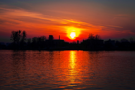 Picturesque sunset and the river Stock Photo