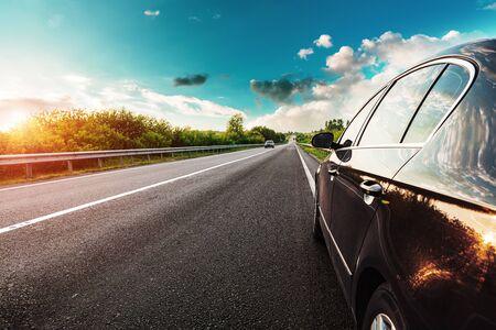 black car on asphalt road Banque d'images - 135490951