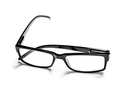 black eye glasses isolated on white background Banque d'images - 135491698