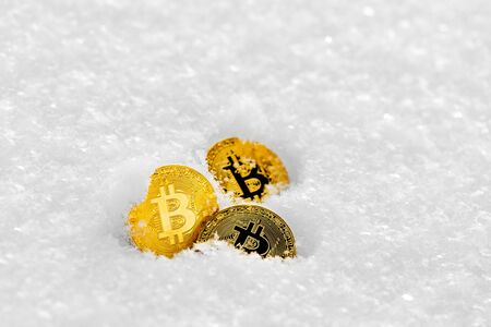 Bitcoin cryptocurrency on snow