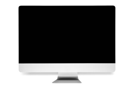 Computer screen with blank white screen isolated on white background. 5k monitor