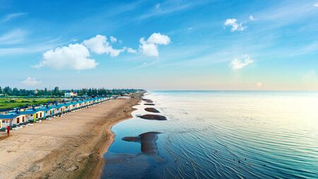 Top view of beautiful beach. Aerial drone on sea water at the beach Banque d'images - 135493528