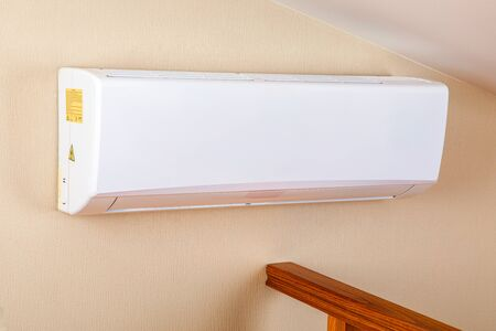 white split air conditioner on a wall. closeup image Banque d'images - 138820972