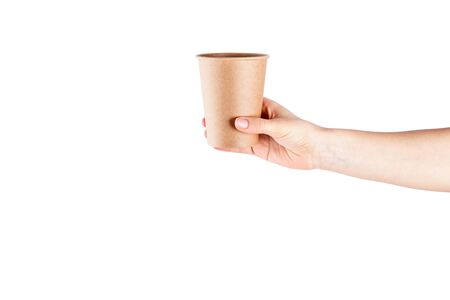 Mockup of woman hand holding a Coffee paper cup isolated on white background.