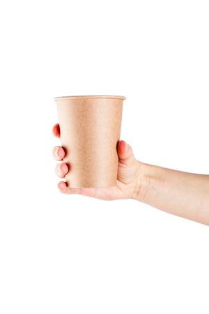 Mockup of woman hand holding a Coffee paper cup isolated on white background. Banque d'images - 137370952