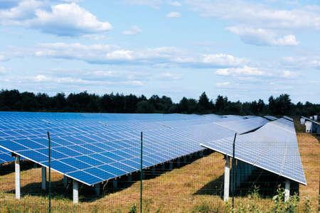 Solar panels in aerial view. Solar panels system power generators from sun 免版税图像