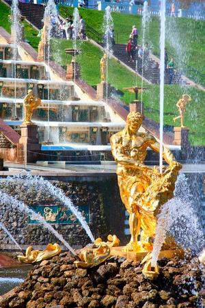 Fountain Samsonand lion of Grand Cascade Fountain in Peterhof, St. Petersburh, Russia