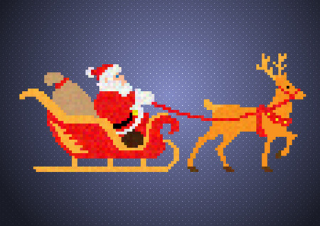 pixelart: Santa Claus Pixel-Art Illustration