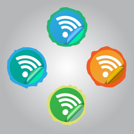 Set of WiFi Stickers Vector
