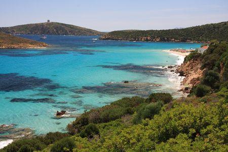 sardaigne: Vue de la merveilleuse plage de Tuerredda - Sardaigne - Italie