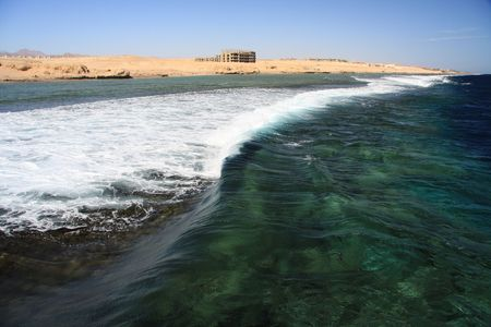 sharm el sheik: Breaking of waves on the reef in the Red Sea - Egypt