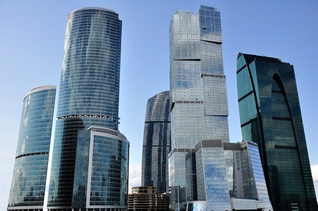 financial district: Skyscrapers.