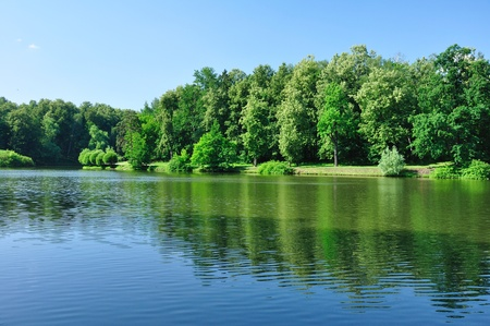 tsaritsino: Summer landscape with lake and forest on banks, recorded in park Tsaritsino in Moscow.