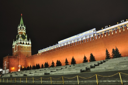 A Spasskaya tower of Kremlin, night view  Moscow, Russia Stock Photo - 12747455