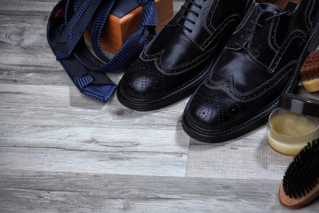 brogues: Shoe care and gentlemans accessories with free space. Brushes,spanch,shiny.Luxury brogues