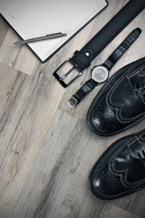 brogues: Set which must have every bussinesmen leather belt, watch,pen,note,brogues. With spaace for text