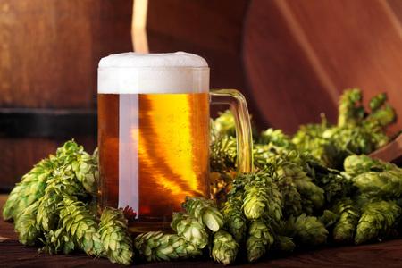 Beer .Mug of beer.Beer with hops.Advertising of beer.Beer in hops.