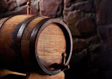 old wooden barrel copy space.Barrel for alcohol