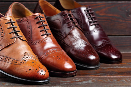 Fashion classical polished men's brown oxford brogues.Selective focus