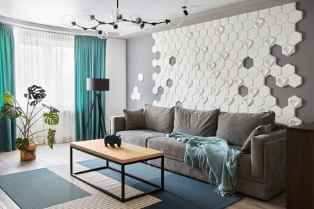 Modern Living Room luxury sofa interior design 免版税图像
