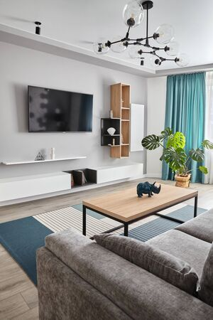 Modern Living Room .Grey sofa ,carpet and curtains.Modern floor lamp. Wooden coffee table.White cyan colors 免版税图像