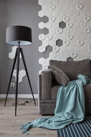 Gray sofa with cyan blanket , floor lamp. Interior with grey wall with white honeycomb on the walls.Background. 免版税图像