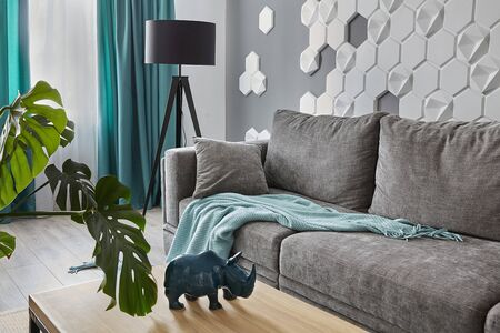 Modern Living Room .Grey sofa and cyan blanket,carpet and curtains.Decorative honeycomb on the wall.Modern floor lamp. Design interior. Grey,white cyan colors 免版税图像