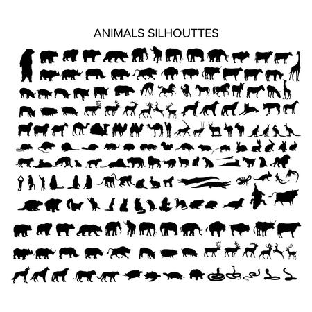 mega set of animal silhouttes logo design vector