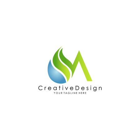 nature M letter logo design vector Illustration
