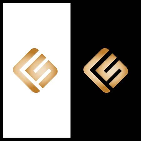 FS letter on gold color logo design vector