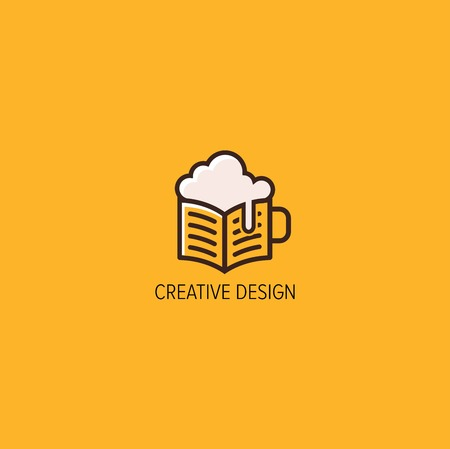 beer and books  logo design vector Ilustração