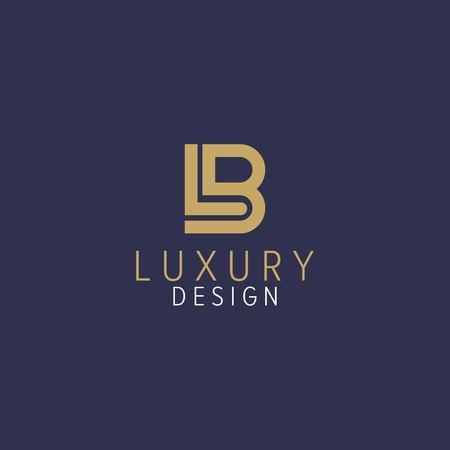 LB letter with gold color - luxury logo design vector Logó