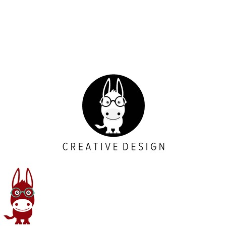 cute and cartoon donkey logo design vector Иллюстрация