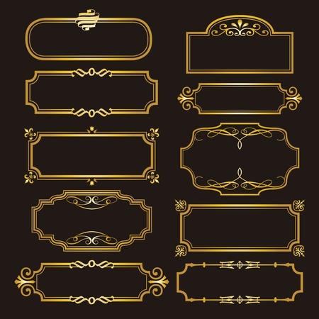 Satz von dekorativen Rahmen und Grenzen gesetzt, Goldfotorahmenlinie Blumen für Bild, Vektordesigndekorationsmusterart.