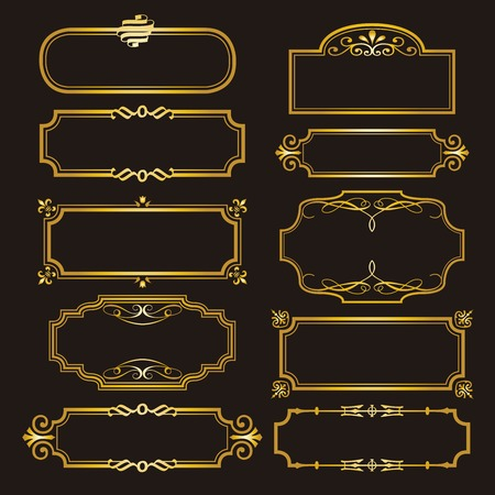 Set of Decorative frames and borders set,Gold photo frame line floral for picture, Vector design decoration pattern style.