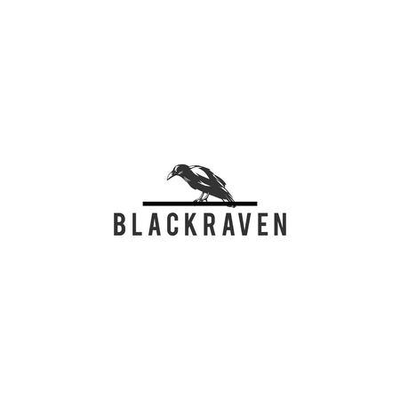 black raven logo design vector isolated Stock Illustratie