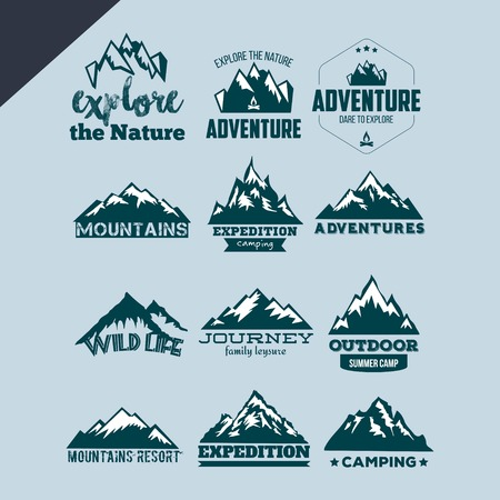 set of mountain andadventure , logo design vector