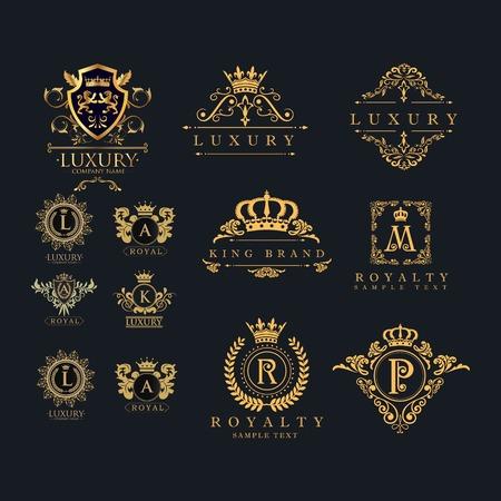 set di cornice di lusso - vettore di design logo vintage con colore oro