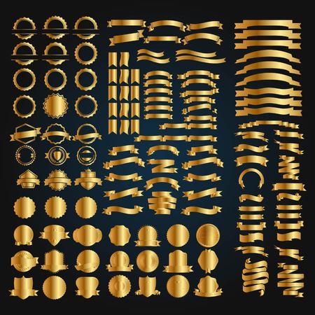 set of gold badge and alphabet logo design vector
