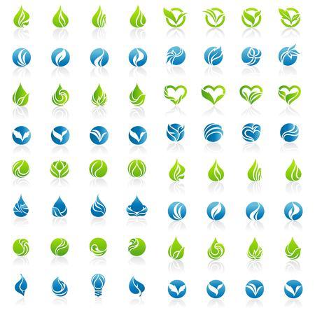 set of water and leaf logo design vector