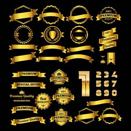 set of gold badge and alphabet logo design vector Logo