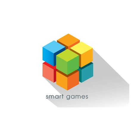 abstract cube with 3d concept - logo design vector