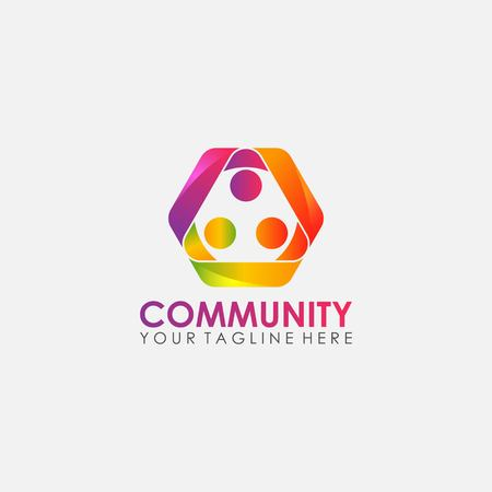 abstract community people logo design vector