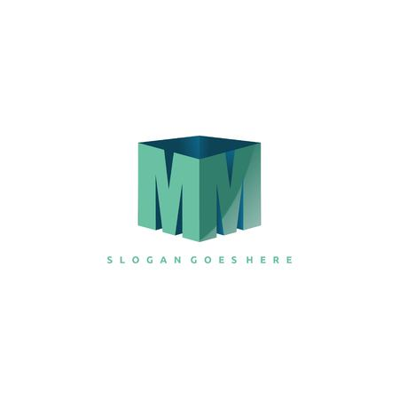 MM letter with cube 3d - logo design vector