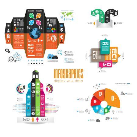 set of business infographic element - logo design vector