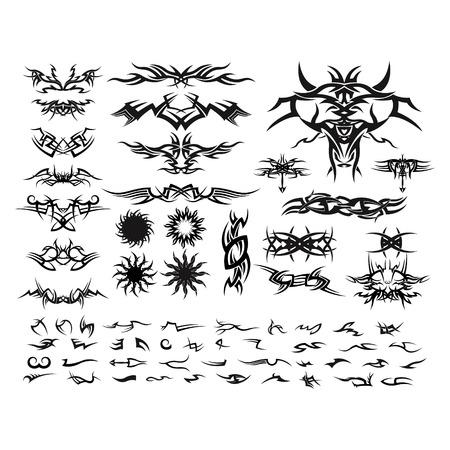set of tatto ornament - logo design vector