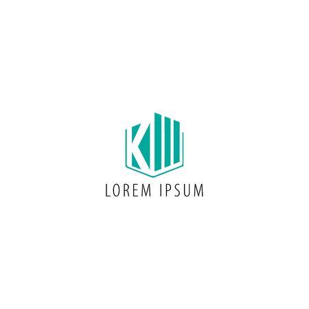 KW KM  letter - real estate logo design vector