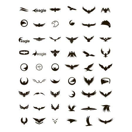 set of eagle logo design vector