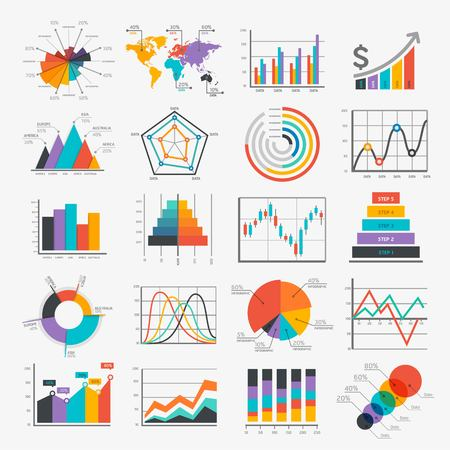 set of business infographic element with chart - logo design vector